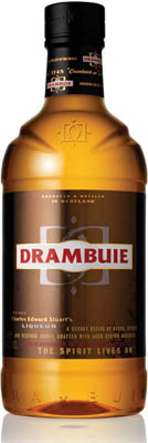 The new streamlined look for Drambuie, featuring a clear, taller, slimmer bottle