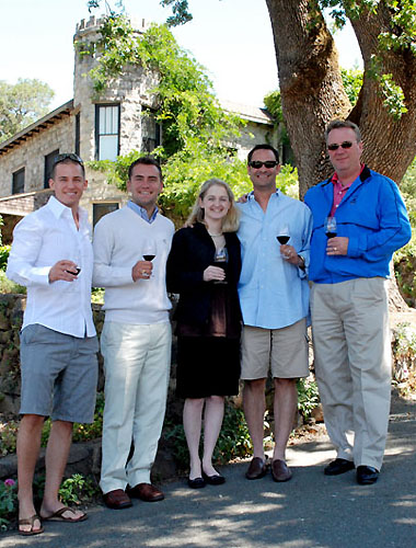 Adam Billings, Patrick McGinn & Pamela Tweedell of iMi Agency – AJ Freeman & Russ Kuck of Foster's Wine Estate outside of Stags' Leap Manor.