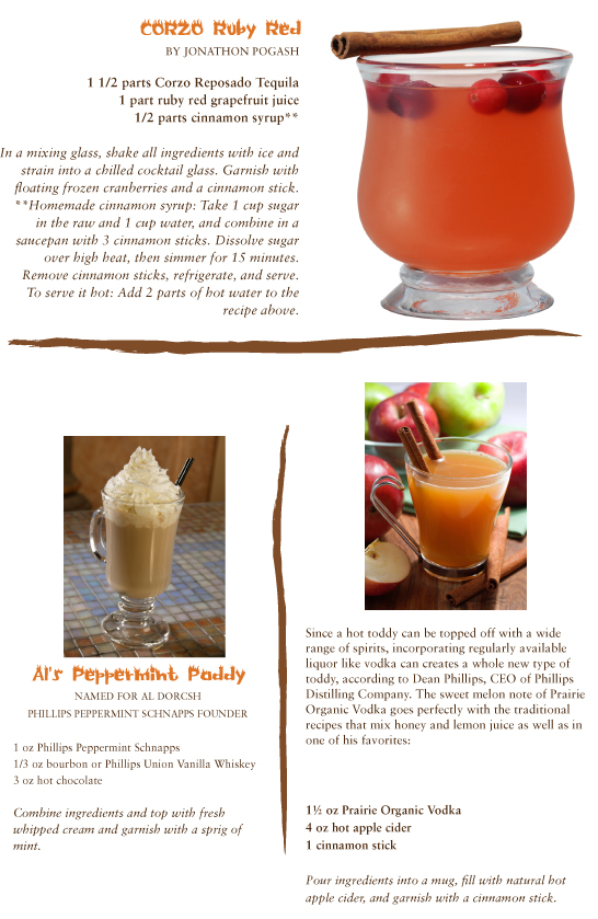 Corzo Ruby Red by Jonathon Pogash. Al's Peppermint Paddy named for Al Dorcsh, Phillips Peppermint Schnapps Founder. Apple Cider Toddy with Prairie Organic Vodka.
