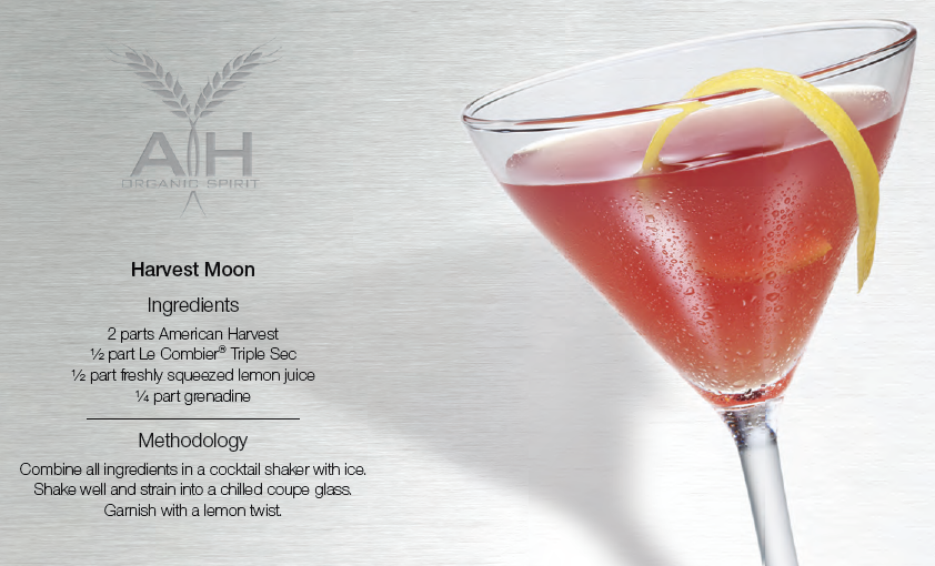 Harvest Moon Cocktail - American Harvest Vodka and Le Combier Triple Sec