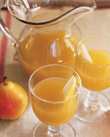 Pear and Sparkling Cider Cocktails - BRUNCH COCKTAILS - martha stewart