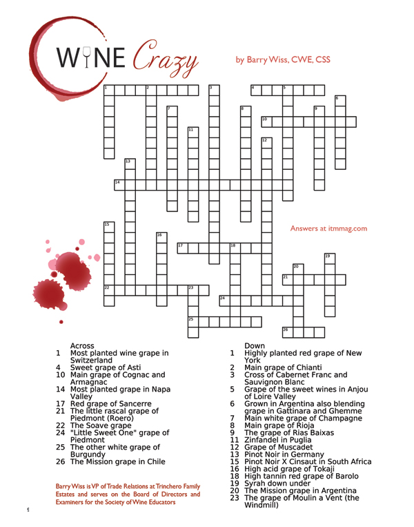 wine cross word puzzle