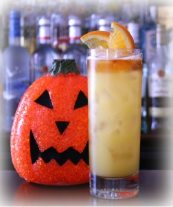 attack of the zombie of halloween cocktail with bacardi