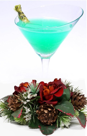 holiday / christmas cocktail recipe with Midori Melon Liqueur and White Creme de Cacao