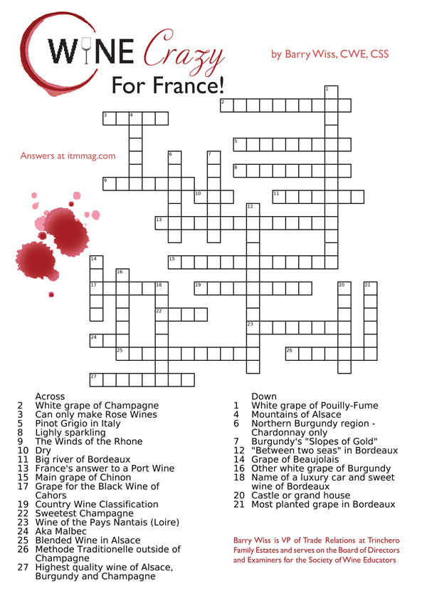 Crossword Puzzle Answers: Test Your Wine Knowledge 3 - in the Mix ...