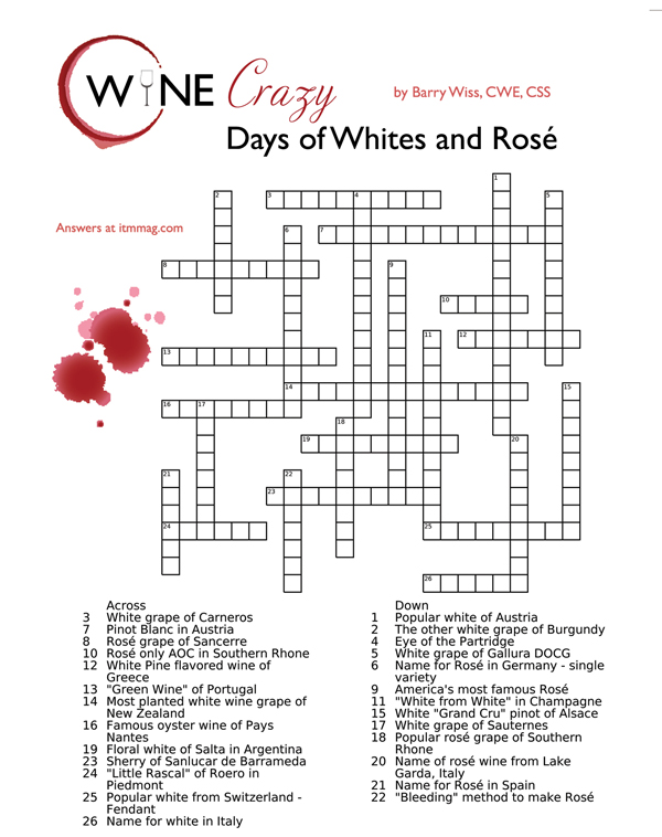 test your wine knowledge crossword puzzle by barry wiss
