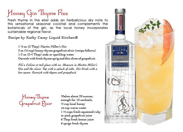 martin miller's gin - honey gin thyme fizz cocktail