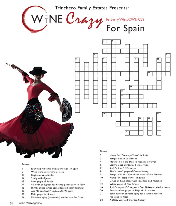 CROSSWORD Answers: Wine crazy for Spain