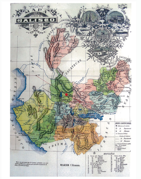 jose cuervo vintage jalisco map