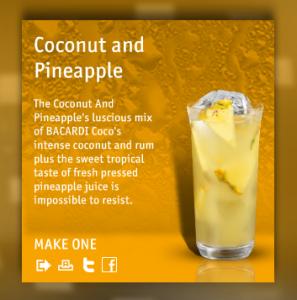 Bacardi Rock Coconut and Pineapple