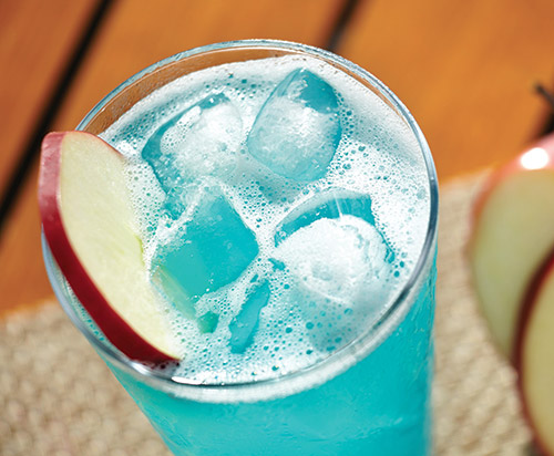 A Blue Lagoon cocktail.