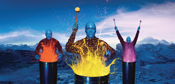 The Blue Man Group, one of the many top-billed shows on the Norwegian Epic.