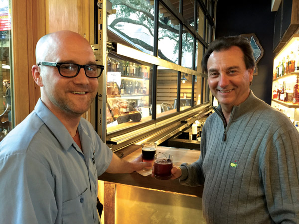 Brian Bieda, GM for this Mellow Mushroom and Don Billings, ITM publisher, at the bar. Don is drinking a Cherry Maple Manhattan.