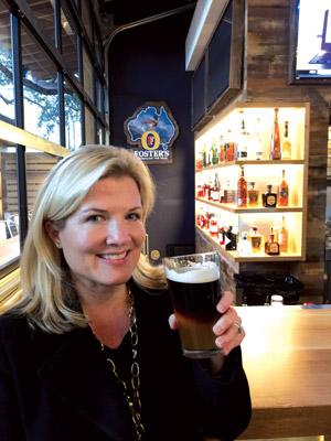 Helen Benefield Billings,  ITM hospitality writer, drinking a Black & Blue.