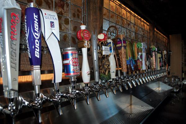 Mellow Mushroom's huge  selection of draft beer handles.