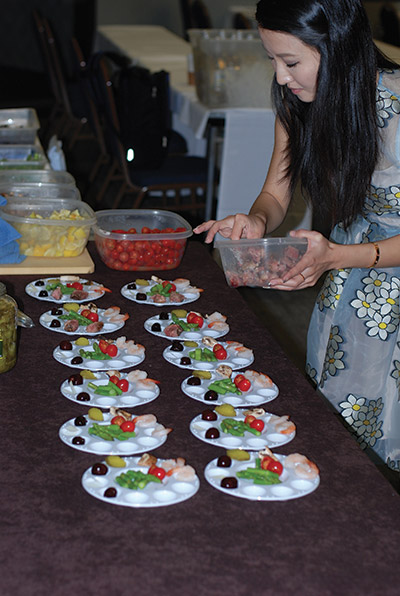 "Food preparation for ""Match Wine to the Diner, Not the Dinner"" seminar led by Tim Hanni MW."