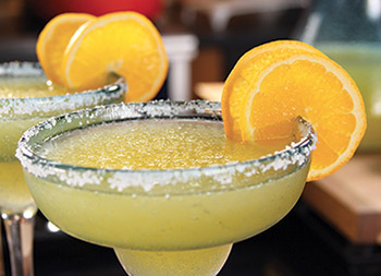 Margaritas come in a variety of flavors, including this refreshing mango version.