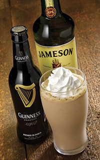 Irish Beer Shake – a blend of Guinness Stout, Jameson Irish Whiskey and chocolate ice cream. Courtesy of Red Robin.