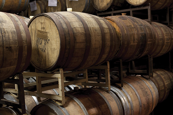 The barrel room at Sam Adams Brewery
