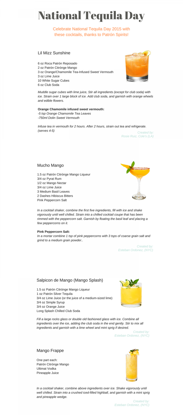 National Tequila Day 2015 - Recipes