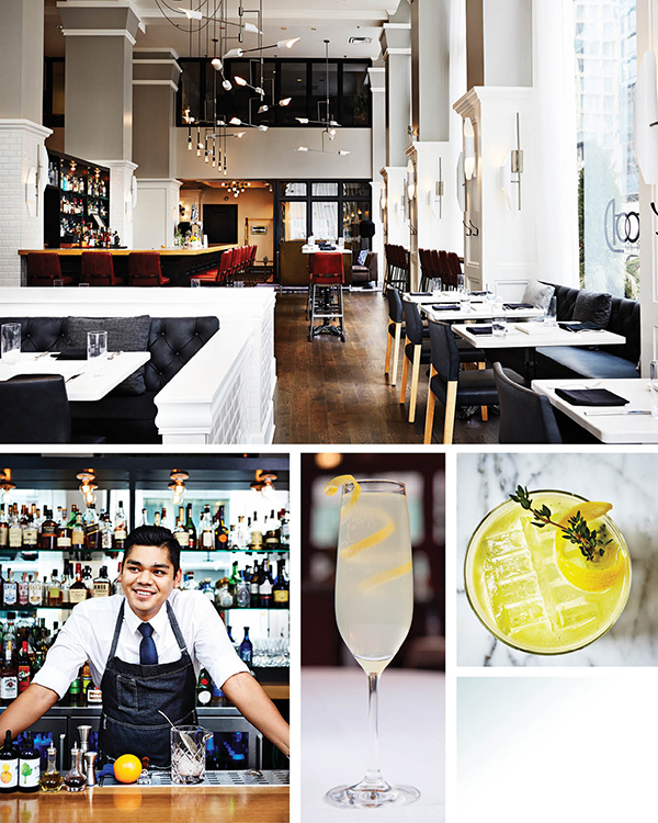 Top: Interior of the Atwood Cafe. Bottom Left: Ramon Anguiano, Atwood's head bartender. Bottom Middle: The French 75. Bottom Right: Bewitched cocktail.