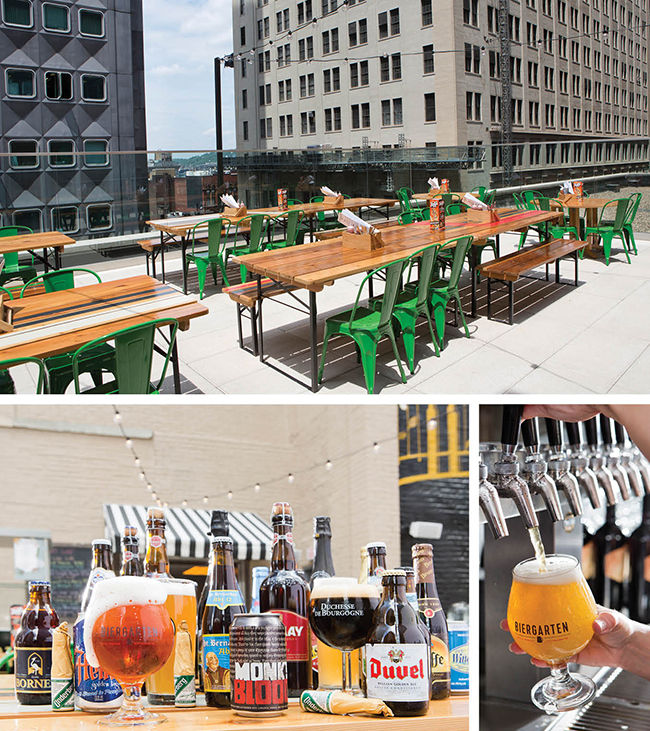 Top: The open-air Biergarten on the ninth floor of the Hotel Monaco. Left bottom: Some of the Biergarten's choices. Right bottom: A good pour of one of the many choices at the Biergarten.