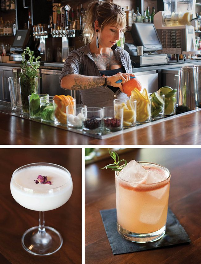 Top: Head Bartender Stephanie Teslar of Blue Hound Kitchen and Cocktails. Bottom right: Horseshoes and Hand Grenades cocktail at Blue Hound. Bottom left: Blue Hound Kitchen and Cocktails' striking Lost Melody cocktail.