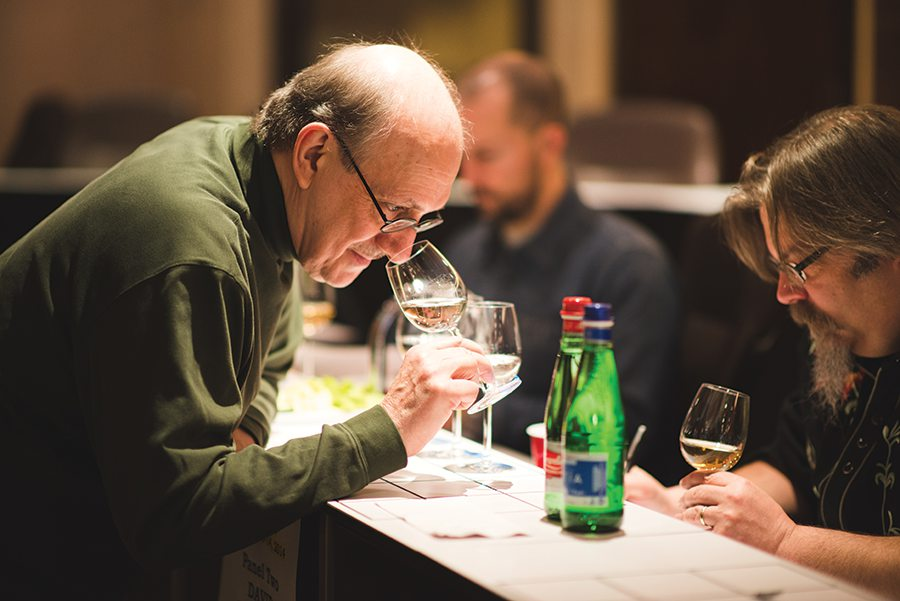 Paul Pacult (left) with cocktail historian, David Wondrich, tasting for the Ultimate Beverage Challenge.