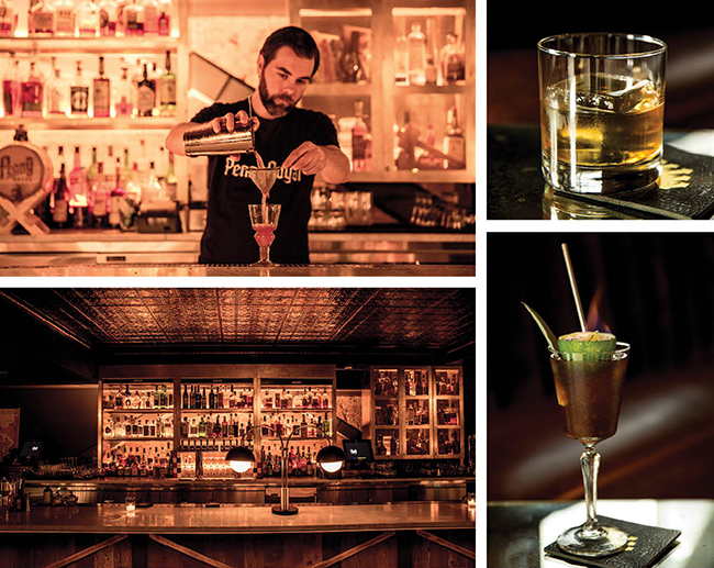 Top left: Lead bartender at Pennyroyal, Chad Phillips. Top right: Pennyroyal's Classic Whiskey Cocktail. Bottom left: The bar at Pennyroyal. Bottom right: Pennyroyal's popular Flaming Tiki cocktail.