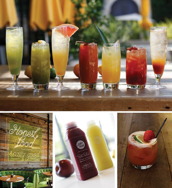 Top: An assortment of Natural Refreshers from True Food Kitchen. Bottom left: Interior of True Food Kitchen in El Segundo. Bottom middle: Organic cold-pressed juice by Juby True and True Food Kitchen Bottom right: Strawberry Daiquiri from True Food Kitchen.