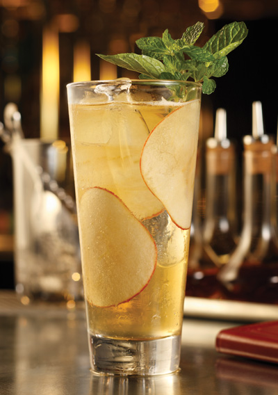 At Bardot Brasserie at the Aria Resort & Casino in Las Vegas, the cocktails are designed to pair well with the rich cuisine. The Voltaire combines a cider base with baked apple bitters and house-made ginger syrup.