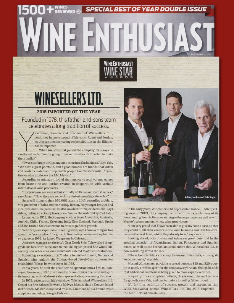 Wine Enthusiast - Winesellers LTD - 12-7-2015