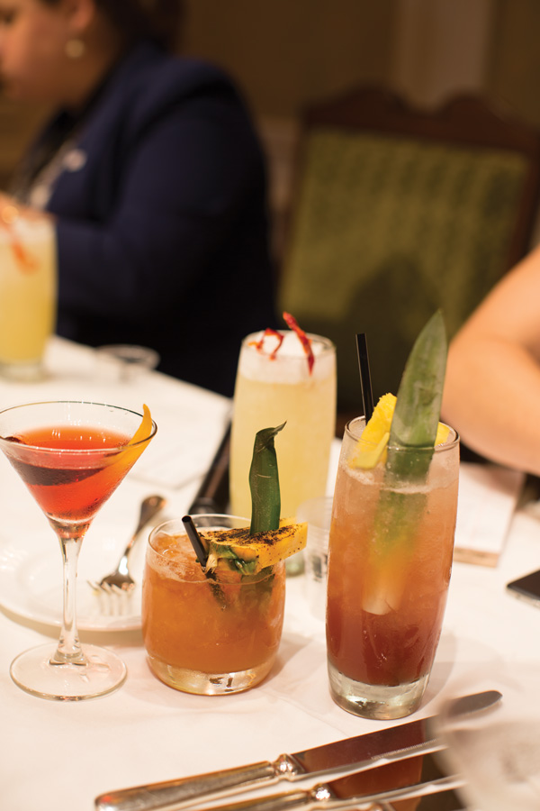 The final group of cocktails for judging.