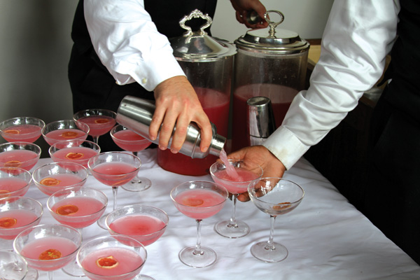 "Cosmopolitans expertly prepared for the guests of the ""History of the Cosmopolitan Cocktail"" presentation."