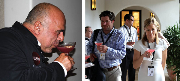 Left: Tony Abou-Ganim tasting one of his cosmopolitans. Right: Scott Hempstead, Boston Beer Company, and Charlotte Voisey, William Grant & Sons, gather their cosmopolitans for the presentation.