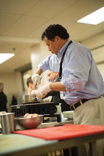 David Neves, IHG, working on a sauce.