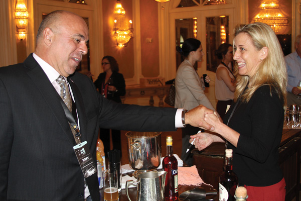Tony Abou-Ganim wishes Mary Melton, P.F. Chang's, good luck.