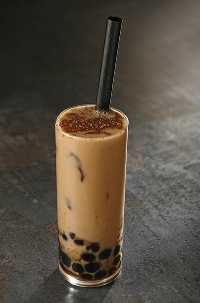 From Asian street food comes playful boba tea. Here, a base of Darjeeling black tea blends lusciously with creamy vanilla sauce, honey and cinnamon. Photo courtesy Rich's Foodservice.