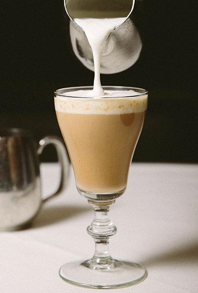 Inspired by Indian cuisine, Joe's Spiked Chai Latte takes a house-made chai and froths it with cream. It's poured over Caffè Moka and aged Rum at Joe's Seafood, Prime Steak & Stone Crab restaurants. Photo courtesy of Joe's.