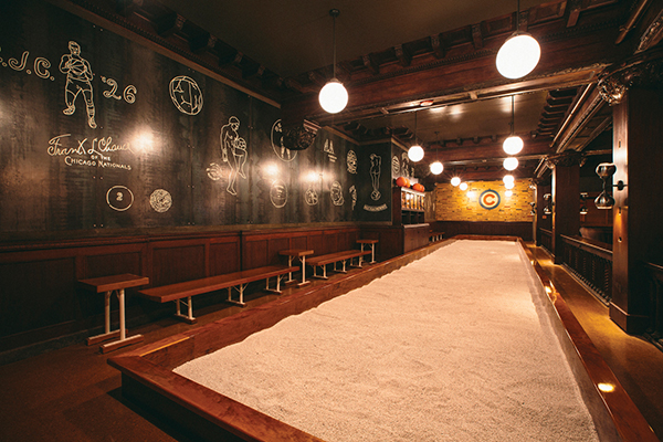 The indoor bocce court in the Game Room. Photos by Clayton Hauck