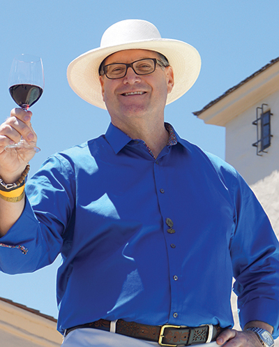 Mark Crisler of Trellis Wine Group strikes an iconic pose in honor of Mr. Mondavi.