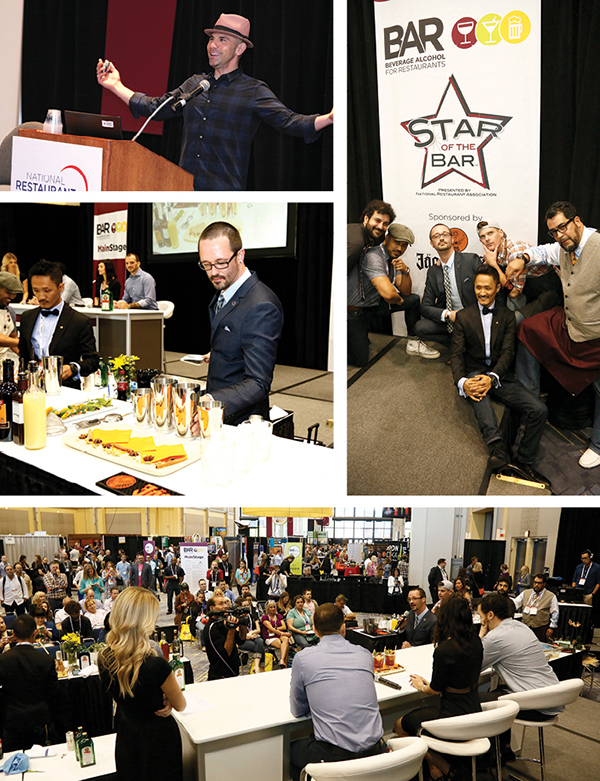 """Top right: Billy Dec, CEO/Founder of Rockit Ranch Productions, was the BAR 16 keynote speaker. He actively oversees the creation of bar programs for Rockit's wildly successful see-and-be-seen night- clubs, sophisticated bar and grills, casual dining and sports bars. Attendees heard how Dec collaborates with his team to develop killer concepts built around award-winning cocktail innovation, standout branding, and chef-driven menus – and how his team motivates him to invest in cutting edge bar programs that elevate the customer experience and his company's profits. Right: On Sunday, the Star of the Bar Regional Finalist Cocktail Demos was the main event. Six mixologist finalists showed their secrets behind the drinks and sampled the creations that earned them the top prize during their regional competitions. All the finalists presented their drinks to the panel of industry judges and a new winner of Star of the Bar was crowned. Baron Stelling of Paragary's Midtown and The Shady Lady mixed up """"The Stag Savior"""" to win the San Francisco regional. His blend of Jägermeister with gin, lime juice, grenadine and apricot liquor, topped with dashes of bitters and absinthe, won him the title of Star of the Bar!"""