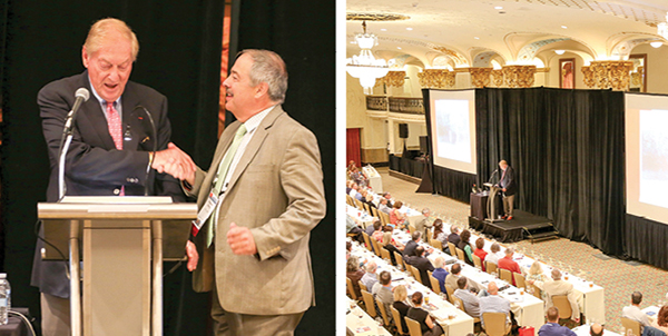 Left: Bill Deutsch being welcomed by Ed Korry, CHE, CSS, CWE and current President of SWE. Right: An intent group listening to keynote speaker, Bill Deutsch.
