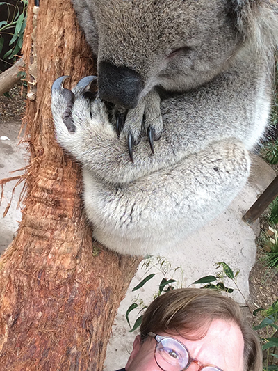 "Tylor taking a ""selfie"" with a koala."