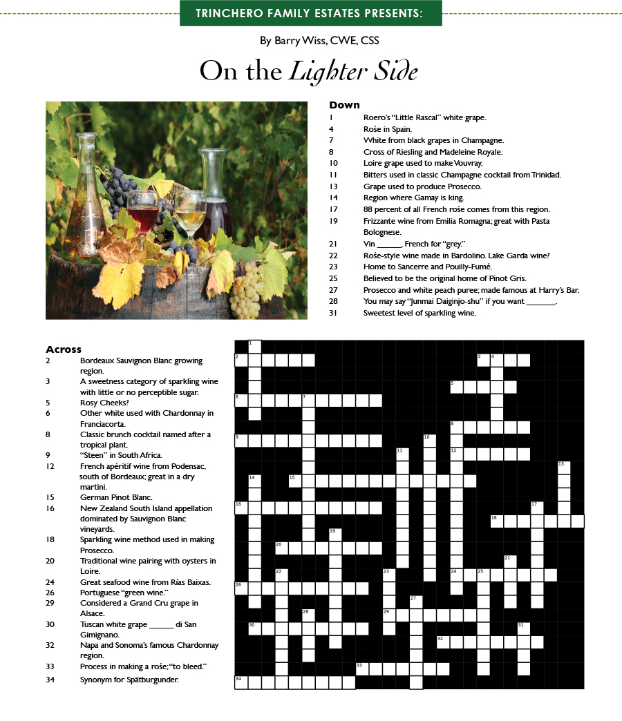Wine Crossword Puzzle by Barry Wiss
