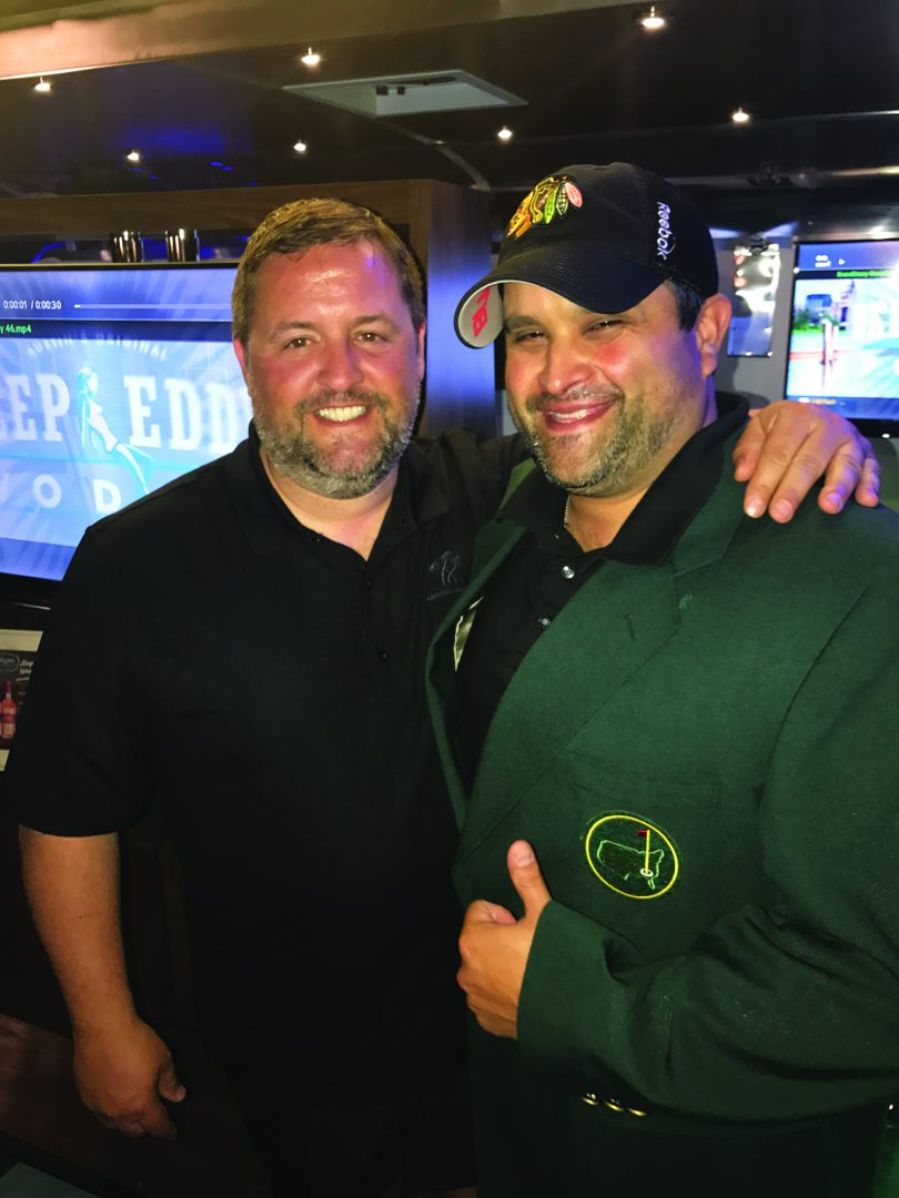 Stuart Melia, Vice President of Craftworks Restaurants and HEE Advisory Board Co-Chairman; and Nick Arenas, National Director of Beverage and Beverage Innovation, Levy's Restaurants, and the 2017 HEE West Masters Glow in the Dark Champion.