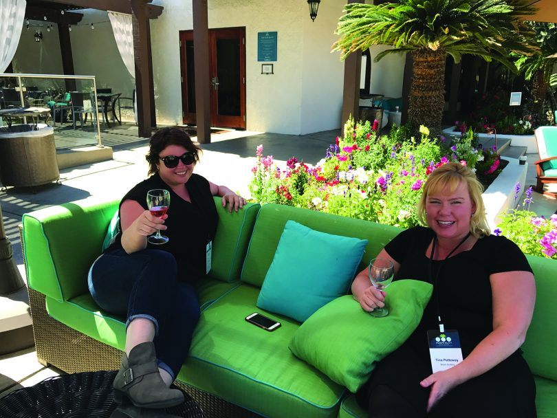 Katherine Wojcik, Kimpton Hotels; and Tina Petteway, Beam Suntory, enjoying a conversation during one of the breaks.