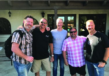 Keith Riley, Monster Energy; Mike Tolley, Beach Whiskey; David Hicks, RIPE Bar Juices; Stuart Melia, Craftworks Restaurants; and Danny Moch, Campari USA