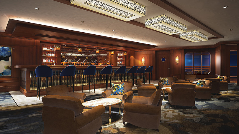 The Maltings whiskey bar aboard the Norwegian Bliss.